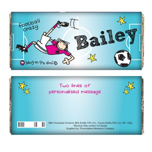 Personalised Bang on the Door Football Crazy Chocolate Bar.